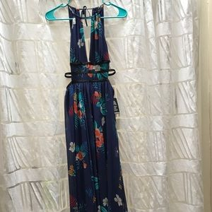 floral strappy side plunge cut-out maxi dress